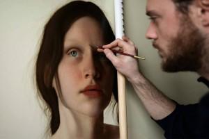 Italian artist Marco Grassi working on his portrait