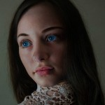 Blue eyed girl, Hyper realistic oil painting by Italian artist Marco Grassi