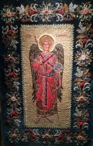 Archangel Gabriel Icon Embroidered with precious stones