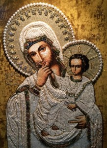 Smolensk Icon of Virgin and child. Embroidery art by Natalia Gorkovenko