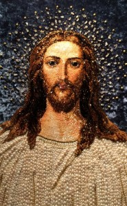 Jesus Icon Embroidered with precious stones. Art workshop by Natalia Gorkovenko