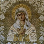 The blessed mother Mary. Manualy Embroidered with precious stones icon