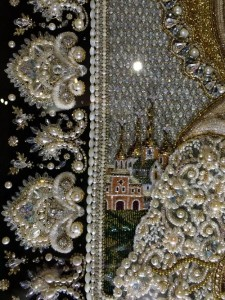 Blessed Matrona of Moscow. detail of icon embroidey with precious stones