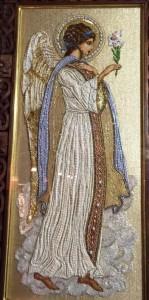 Angel icon. Natalia Gorkovenko workshop 'Prikosnovenie'. Icon embroidery