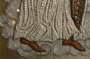 Peark embroidered, detail of embroidered Icon