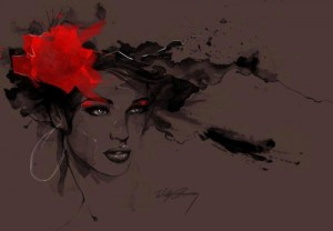 Wine red background Untitled female portrait – watercolor illustration by Willy Gomez