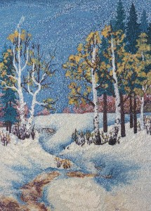 Winter Landscape, painting of the beads by Valentina Parenko