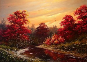 Red rowan. Landscape