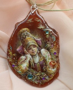'Apple'. Lacquer miniature painting on natural stone. Artist Anna Taleyeva