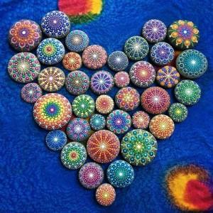 Valentine's Day mandala stones