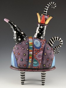 Teapot with Striped Legs, hand built, carved and painted with glaze and under-glaze. Fully functional