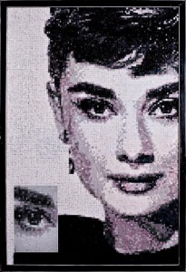 Audrey Hepburn. Mosaic portrait by art workshop of Tatiana Smirnova