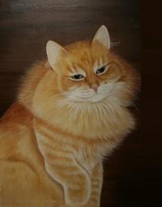 Red beauty. Pleased Cat. Artist Maria Emelyanov