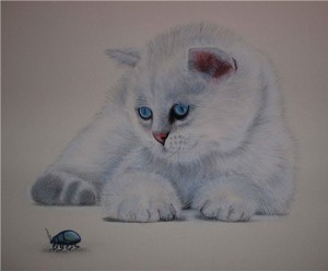 Curiosity. Watching the beetle cat. Painting by Russian artist Maria Emelyanova