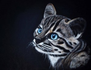 Rare breed of Leopard Cat. Painting by Russian artist Maria Emelyanova