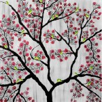 Cherry blossom. Acrylic on canvas. Painting by Sumit Mehndiratta, India