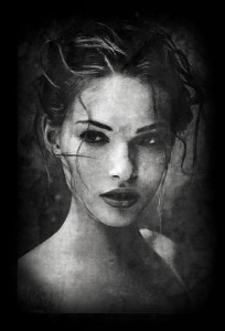 Girl's portrait. Graphic art by Salim Ljuma. Tuzla, Bosnia and Herzegovina