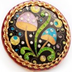 Mushroom ring. Large enameled ring