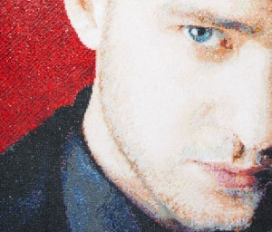 Justin Timberlake. Mosaic portrait by art workshop of Tatiana Smirnova