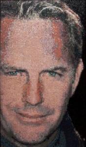 Kevin Costner. Mosaic portrait by art workshop of Tatiana Smirnova