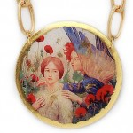 Message, medallion with reproduction of painting by Thomas Cooper Gotch