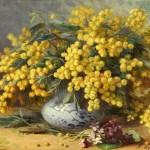 Mimosa still life. Artist Georgy Lapchine