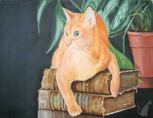 Red cat on the old books. Painting by Maria Emelyanova