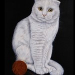 Red and white. Short-eared cat. Painting by Maria Emelyanova