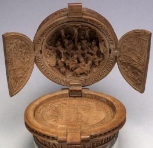 Ancient Prayer Nut medieval wood carving art