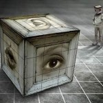 Ear, lips and eye cube. Surreal photo art by Belgian photographer Ben Goossens