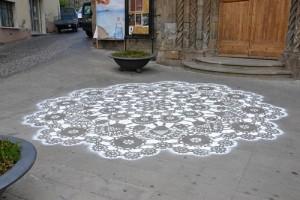 l'Arte nel Ricamo e nel Merletto. Mural in Bolsena, Italy. 2013