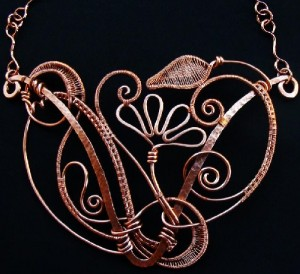 Fantasia statement necklace of copper. Jewelry Art by Ruth Jensen