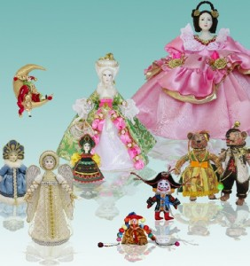 Set of handmade dolls created in Doll Workshop at Lanskoy