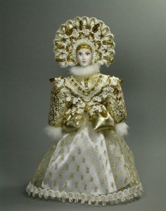 Golden charm. Doll in Russian costume. Biscuit porcelain, textiles, acrylic paint. Artist SY Krishtan