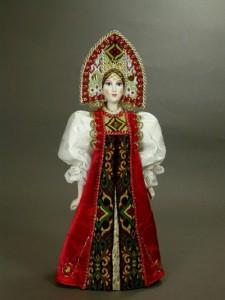 Folk doll in Russian costume. Biscuit porcelain, textiles, acrylic paint. Author IV Bannikova
