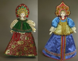 Two beautiful Hanging dolls in Russian costume. Artist SY Krishtan
