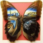 Miniature painting on butterfly wings