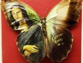 Here we see replicas of Dali masterpieces. Miniature painting on real butterfly wings. Wor by Mexican artist Cristiam Ramos