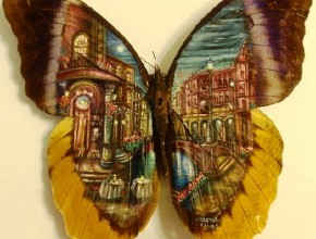 One-of-a-kind Miniature Painting on wings of a butterfly. Artist Cristiam Ramos