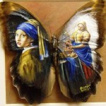 Amazing Miniature Painting on butterfly wings. Artist Cristiam Ramos