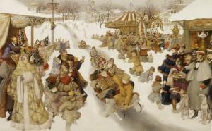 Sledging. Russian winter. Book Illustrator Gennady Spirin