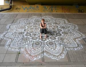 Giant napkin. NeSpoon Lace Street Art. Warsaw, Poland, 2012