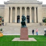 Large scale sculptures inspired by Arcimboldo decorate the area in front of the Art museum. Artist Philip Haas