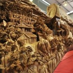 closeup of the longest wooden sculpture in the world