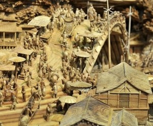 The life of people depicted in the wooden sculpture