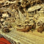 Ships and boats. Detail of the longest wooden sculpture in the world