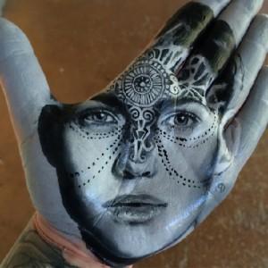 Australian model Ruby Rose. Painted on palm portrait. Art by Russell Powell