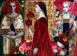 Red carnations. Symbolic painting by Olga Suvorova