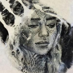 Game of Thrones, Khaleesi, Beautiful Emilia Clarke, hand-stamp. Art by Russell Powell