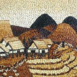 Village Rice grain painting by Ngoc Linh art studio, Ho Chi Minh City, Vietnam